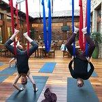 Aerial Yoga in the atrium
