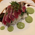 Sesame crusted Ahi tuna with hoisin sauce and wasabi