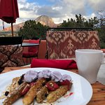 Enjoying breakfast on the patio