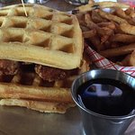 Waffle and Chicken Sandwich (with regular fries, syrup)