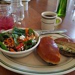 Portobello mushroom sandwich on grilled brioche; side spinach salad with maple balsamic vinaigre