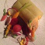 Pamonha Crocante, tomato, roots, azedinha, cooked garlic