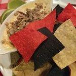 Rattlesnake dip - cream cheese base & tortilla chips