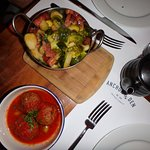 Brussels Sprouts and bacon, albondigas