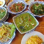 Mango Salad, Beef Green Curry, Sambal Kangkong, Pork in Basil, Tom Yum Soup, Pineapple Rice.
