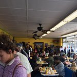 Line moves quickly.  Huge omelette, warm cinnamon roll with buttery icing and filling grits bowl