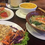ALL VEGAN papaya salad, spicy duck curry, minced meat spicy salad, Tom yum noodles