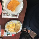 Texas toast and omelet and hash browns