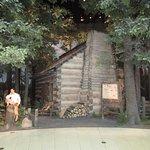 Outside the log cabin