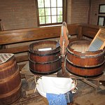 The barrels, the washing boared and the checker board