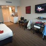 Room 144. Comfy bed, good size bathroom. Good facilities. Crappy tv signal.