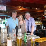 We slip in for a photo with our barman