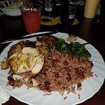 Jerk Chicken, rice n peas, callaloo