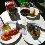 Langoustine, Tuna steak 2 red wines 25 eros