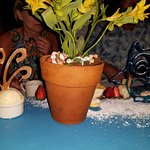The Flowerpot (dessert) served on a surfboard (with hardened sugar owl)