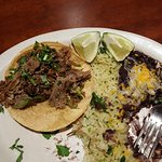 Lamb taco with rice and blackbeans