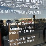 exterior, outside seating and operating hours