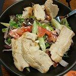 Room service dinner - chicken and greek salad