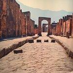 Wall sized photo of Pompeii.