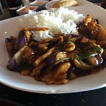 Garlic eggplant with rice
