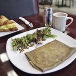 Two fresh breakfasts ... vegetarian Omelet Croissant and the Aurelie Crepe, a house speciality