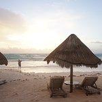 Cabanas and beach chairs