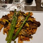 Pompardelle special with asparagus, parmesian, and mushrooms.