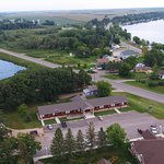 A great aerial photo of the Hotel and RV Park.