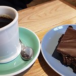 Filter coffee and vegan chocolate tiffin