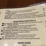 The menu for vegan/vegetarians, the only thing that isn't vegan is the Futo Maki