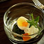 amuse bouche- hard boiled quail egg with caviar and whipped goat cheese