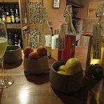 Homemade liqueurs at the bar