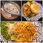 Delicious dessert in coconut cream, chickent with egg and rice, chicken pad thai