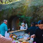 Outdoor sushi bar located at the entrance of the caves.
