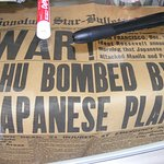 Original Honolulu newspaper announcing WAR