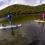Family fun on the paddle boards - The Basin campgroud