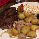 Steak, potatoes and coleslaw