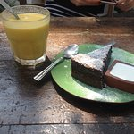 Mango lassi and orange and chocolate cake