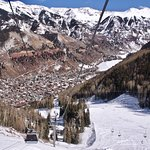 Scenic View of Telluride, Colorado from gondola cabin