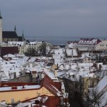 Winter panorama over the roofs of the old town of Tallinn