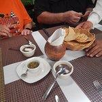 Bean dip and habanero salsa with tostadas
