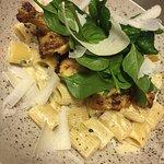 Pasta with corn chicken, trufflesauce and parmigiano reggiano