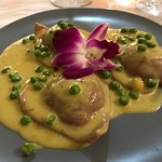 Cupid Ravioli with creamy Saffron sauce and sweet peas