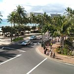 View of the street/beach from the outdoor dining area.