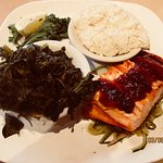 Ginger sou salmon, cheese grits & collard greens
