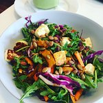 Salad of the week - superseeds, rocket, carrot, haloumi, spiced pumpkin and house dressing