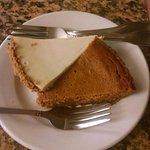 Seafood ragu, shrimp with rice, grouper special and the special of the house- pumpkin pie and ke