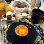 Breakfast: Quiche, muffins, fruit salad, coffee/tea and juice