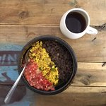 Delicious vegan and Gluten-Free tofu scramble with amazing pour-over coffee