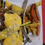 Black and Blue Eggs Benedict on steak with bleu cheese and sauteed vegetables. Yummy!